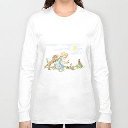 Beginning, Nature, Boy Planting A Seedling, Youth Illustration Long Sleeve T-shirt