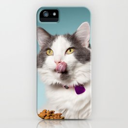 Hungry Cat Licking Face iPhone Case