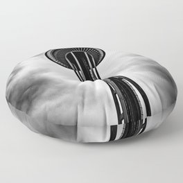 Space Needle Black and white Floor Pillow