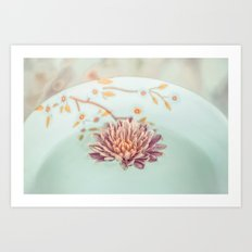 Vintage flower floating Art Print