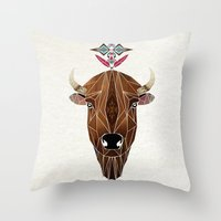 bison Throw Pillows featuring bison by Manoou