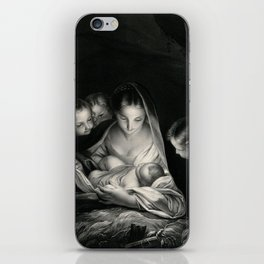 The Nativity, Virgin Mary with Infant Jesus surrounded by Angels iPhone Skin