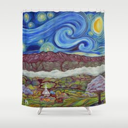 Sunny Starry Night Shower Curtain