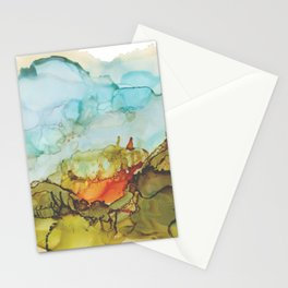 Alcohol Ink Abstract Landscape Farmland Sunset Stationery Cards