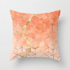 Soft Peach Gradient Cubes Throw Pillow