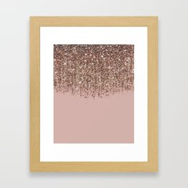 Blush Pink Rose Gold Bronze Cascading Glitter Framed Art Print