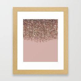 Blush Pink Rose Gold Bronze Cascading Glitter Framed Art Print