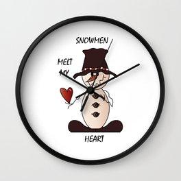 Snowmen Melt My Heart Wall Clock