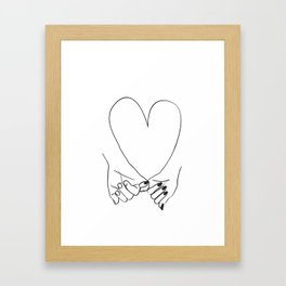 Pinky Promise his and her romantic line art Framed Art Print