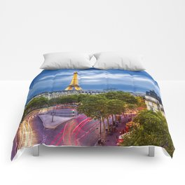 The View, Eiffel Tower Paris France Comforters