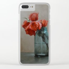 Roses in a Mason Jar Clear iPhone Case