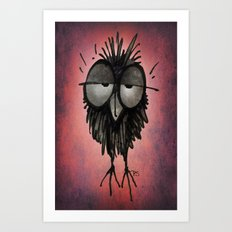 Funny Sleepy Owl on Pink Art Print