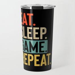Eat Sleep game Repeat retro vintage colors Travel Mug