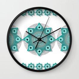 """""""Teal Flower Power ^_^"""" Wall Clock"""