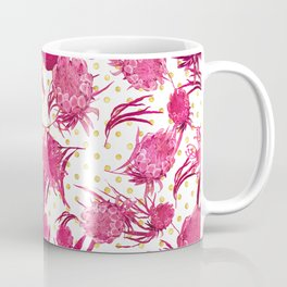 Pink and Gold Australian Native Floral Pattern - Protea, Grevillea and Eucalyptus Coffee Mug