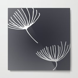 Winter Flower Charcoal Metal Print