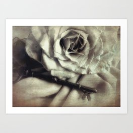 Faded Rose and Old Key Vintage Style Modern Country Cottage Art A130 Art Print