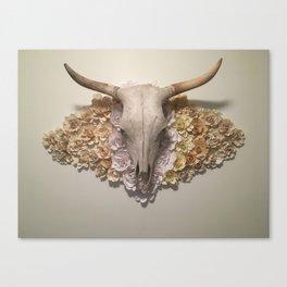 Bohemian Southwestern Steer Skull with Flowers Canvas Print
