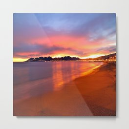 Sunset Beach In Cannes Metal Print