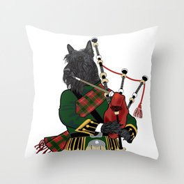 Scotty plays the bagpipes Throw Pillow