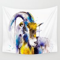 goat Wall Tapestries featuring Goat  by Slaveika Aladjova