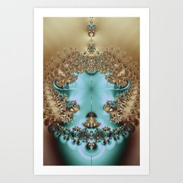 Elegant Royal Gold and Aqua Abstract Art Print