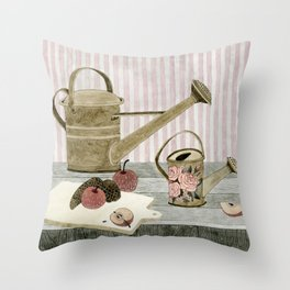 Watering Cans and Apples Throw Pillow