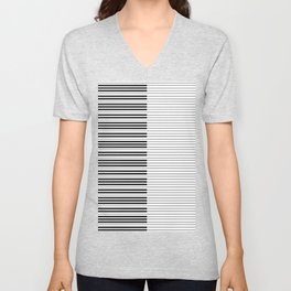 The Piano Black and White Keyboard with Horizontal Stripes Unisex V-Neck