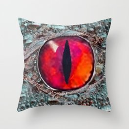 BLAZING RED DRAGON'S EYE & SCALY GREY  SKIN FROM  ART Throw Pillow