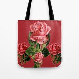 ROSE MADDER ANTIQUE VINTAGE ART PINK ROSES Tote Bag