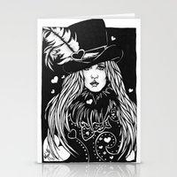 stevie nicks Stationery Cards featuring Blacklights Stevie by Lynette K.