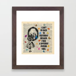 Alice In Wonderland Quote - Vintage Dictionary Page Framed Art Print
