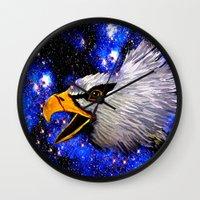 eagle Wall Clocks featuring Eagle by Saundra Myles