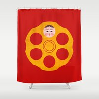 russian Shower Curtains featuring Russian Roulette by Quick Brown Fox