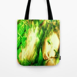 Fairy feather head dress fairy goddess green feathers ,WOOD NYMPH Tote Bag