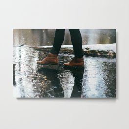 Walking on Wet Sidewalk Metal Print