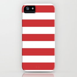 Madder Lake - solid color - white stripes pattern iPhone Case