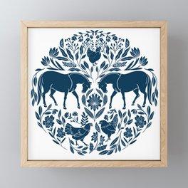 Modern Folk Art Horse Illustration with Botanicals and Chickens Framed Mini Art Print