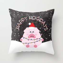 Happy Hogidays Throw Pillow