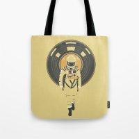 dj Tote Bags featuring DJ HAL 9000 by Robert Farkas