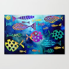 Cosmic Sparkly Fish Under Water Watercolor Canvas Print