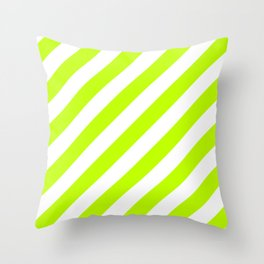 Diagonal Stripes (Lime/White) Throw Pillow