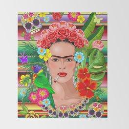 Frida Kahlo Floral Exotic Portrait Throw Blanket