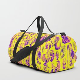 Carnivore HOT PINK & YELLOW / Animal skull illustrations from the top of the food chain Duffle Bag