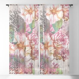 Animal flowers abstract Sheer Curtain