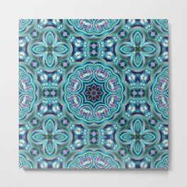 Blue ornament. Kaleidoscope. Metal Print