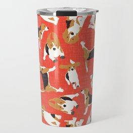beagle scatter coral red Travel Mug