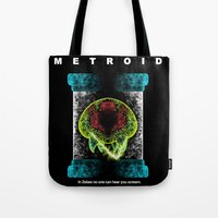 metroid Tote Bags featuring Metroid by MeleeNinja