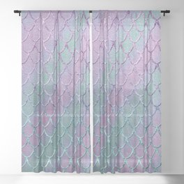 Mermaid Princess Glitter Scales Glam #1 #shiny #stripes #decor #art #society6 Sheer Curtain