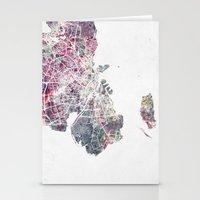 copenhagen Stationery Cards featuring Copenhagen map by MapMapMaps.Watercolors